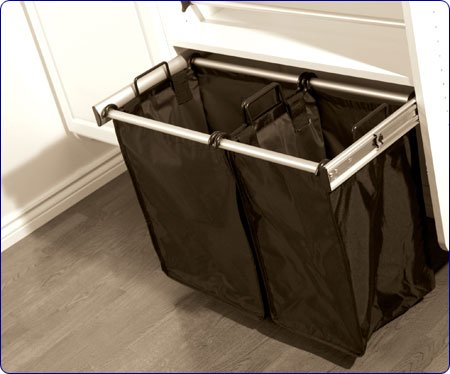 Pull-Out Double Hamper - 30 Inch Polished Chrome (Double Tilt Out Laundry Hamper)