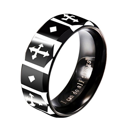 (INRENG Men's Stainless Steel Christian Cross Knights Templar Shield Ring Band 8MM I Can Do All Things Engraved Black Size 12)