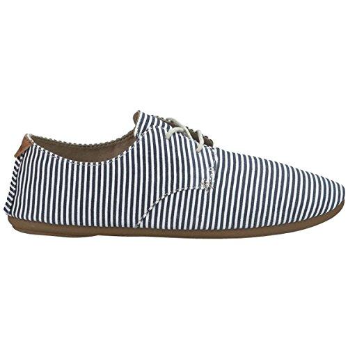 Sanuk Women's Bianca Prints Slate Blue/White Stripes Sneaker 6 B
