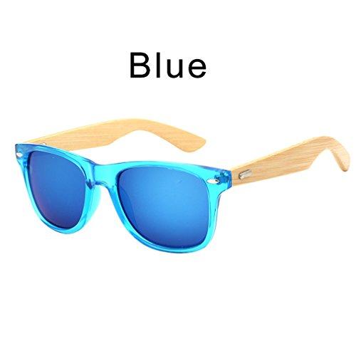 femmes lunettes en soleil soleil lunettes lunettes bois bambou Haoling Rétro Blue avec de unisexe de étui hommes YPpO8wq