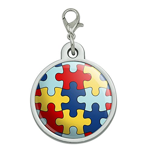 Autism Awareness Diversity Puzzle Pieces Chrome Plated Metal Pet Dog Cat ID Tag - Large (Awareness Dog Tag)