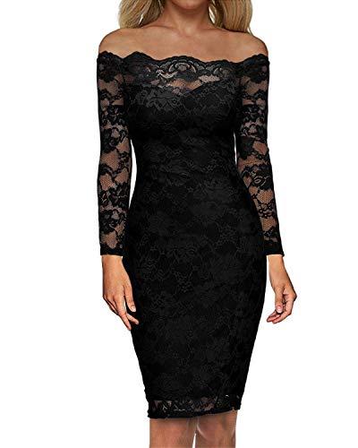 Cocktail Long Sleeve - Auxo Women Off Shoulder Floral Lace Dress Vintage Bodycon Slim Long Sleeve Midi Party Cocktail Dressess Black L