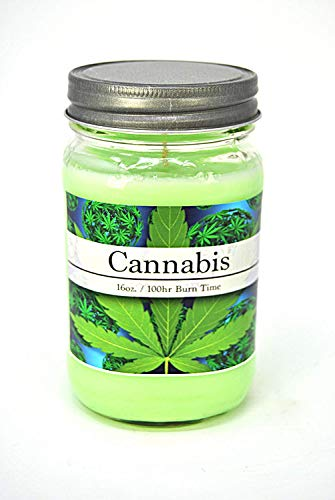 S&M Candle Factory Cannabis Soy Candle ~ Cannabis Flower/Marijuana/Weed Scented 14.5oz 3 Wick Candle ~ Made (16oz Mason Jar) (Weed Candle Wax)