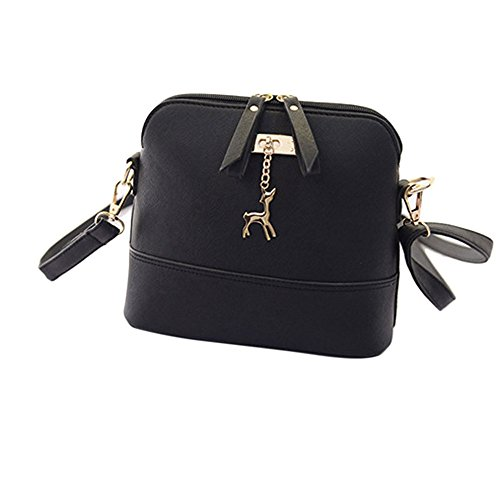 Women Love Backpack,Ladies Girls New Fashion Pendant Vintage Messenger Bags Small Shell Leather Casual Handbag (Black)