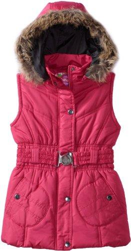 Dollhouse Girls Belted Bubble Vest with Faux Fur Trim Hood - Sizes 2-16