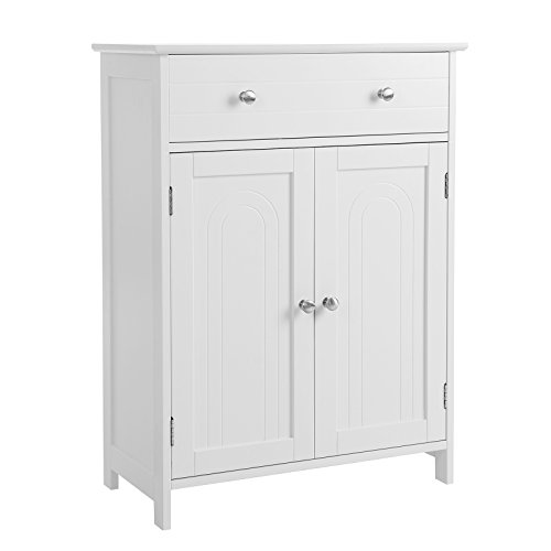 SONGMICS Free Standing Bathroom Cabinet with Large Drawer and Adjustable Shelf, Kitchen Cupboard, Wooden Entryway Storage Cabinet White, 23.6''L x 11.8''W x 31.5''H, UBBC61WT by SONGMICS