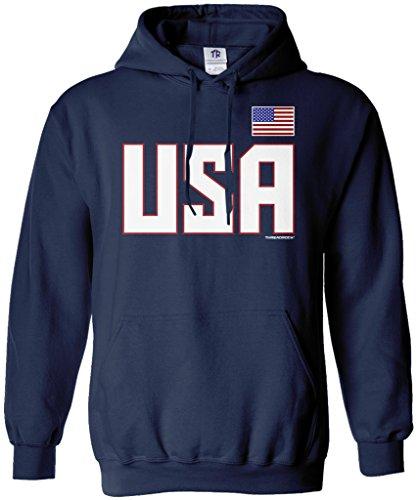 Threadrock Men's USA National Pride Hoodie Sweatshirt L Navy