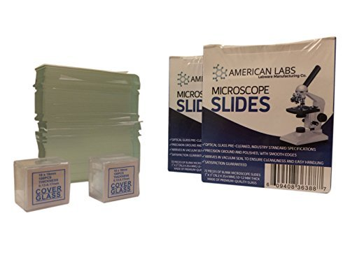 American Labs BS-144P-200S-22-A 144 Blank Microscope Slides and 200 Cover Glass Pre Cleaned - 2 Packs Ground Edges
