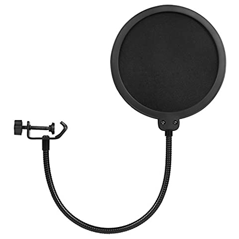 InnoGear Updated Microphone Pop Filter Dual Layer Mic Pop Shield with Clip Stabilizing Arm for Recording Vocals Home Studio (Home Air Filter Holder)
