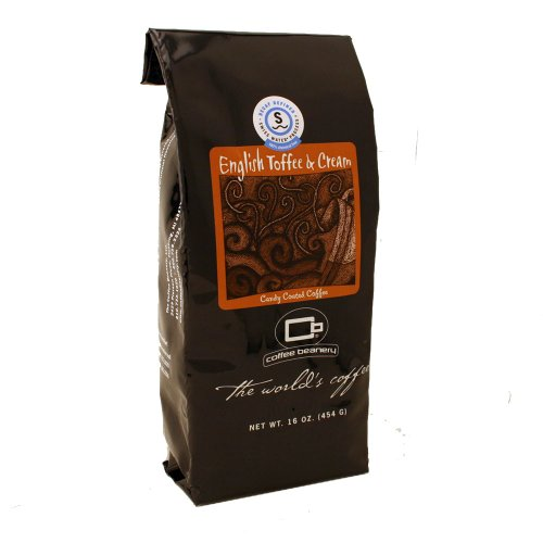 Coffee Beanery English Toffee and Cream Flavored Coffee SWP Decaf 16 oz. (Whole Bean)
