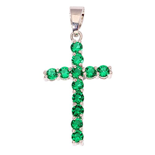 Silver Emerald Plated Cross - CiNily Emerald Rhodium Plated Cross for Women Jewelry Gemstone Pendant 1 3/8