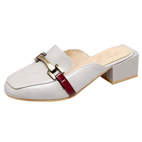 Coolcept Women Square Heel Mules Shoes Gray RNFuufeaN