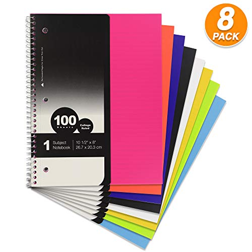 (Emraw 1-Subject Poly Cover Spiral Notebook 100 Sheets College Ruled Wire Binding Meeting Notebook Durable Laminated Cover Assorted Color Wire Bound Small Notebook 3 Hole (8-Pack))