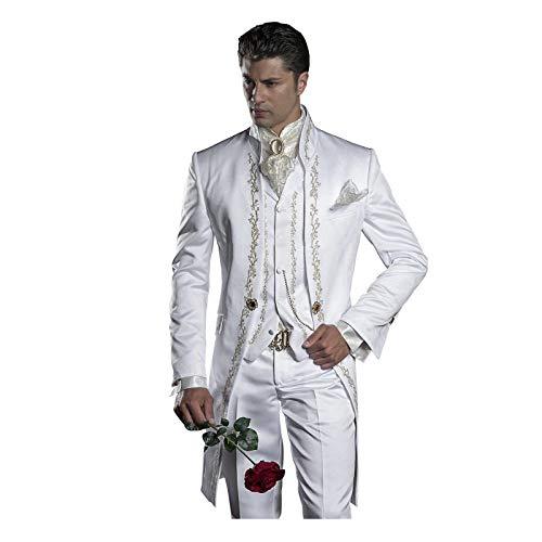 Mens Embroidery White Mandarin Lapel Tail Tuxedos Wedding/Prom Best Man Blazer 6 Pieces Men -