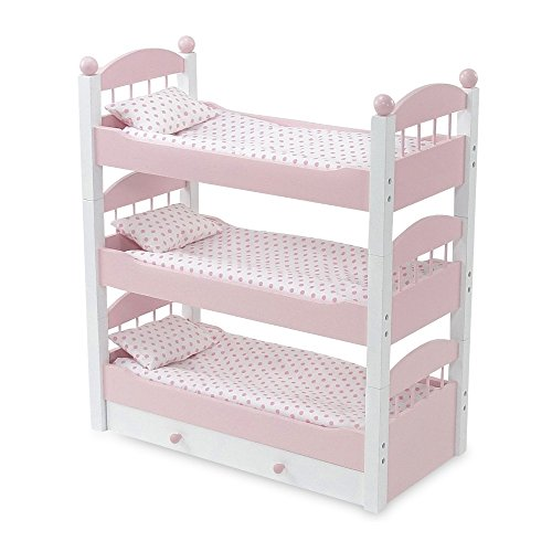18 Inch Doll Furniture | Lovely Pink and White Stackable Triple Bunk Bed, Includes Trundle Drawer and Plush