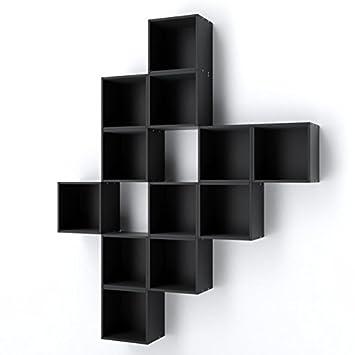 Retro Wandregal Cubes Regal 3er Set schwarz NEU