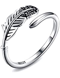 | Sterling Silver Feather Ring | Adjustable Open-Style Ring Sizes 6.5-9.5