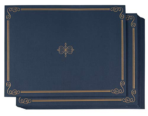 Diploma Gold Holder (Certificate Holder - 12-Pack Diploma Cover, Document Cover for Letter-Sized Award Certificates, 300 GSM Linen Paper, Gold Foil Print, Navy Blue, 11.2 x 8.8 Inches)