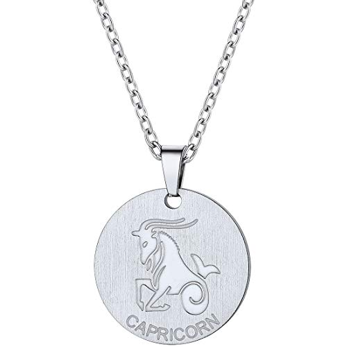 Capricorn Stainless Steel - PROSTEEL Capricorn Zodiac Star Sign Coin Necklace Stainless Steel Constellation Horoscope Pendant Men Women Jewelry Birthday Gift