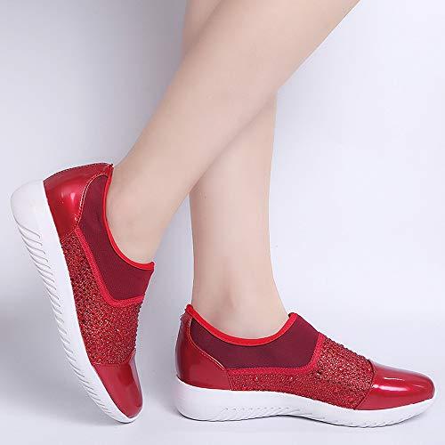 Zapatos Mujer Casuales Cómodas Mujer Rojo Suelas Estiramiento Deportivos Plataforma mujeres Running Para Sneaker Al Libre Aire Mocasines Casual Zapatillas Deportes Tejido Respirable WBK58wqS11
