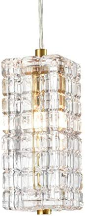 Modern Brass Glass Pendant Lights Crystal Glass Shade Contemporary Mini Pendant