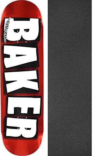 ピッチャー下着びっくりするベイカースケートボードブランドロゴ箔レッドスケートボードデッキ – 8.5