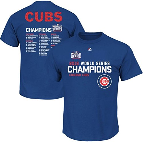 - Majestic Chicago Cubs Mens World Series Champions Sweet Line Up Roster Royal Blue Shirt Big & Tall Sizes (5XL)