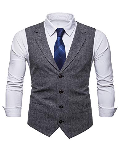 STTLZMC Mens Casual Dress Vests 4 Button Tailored Collar Tweed Suit Waistcoat,Black Grey,Large