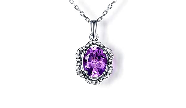 925 Silver Pendant with 7x9mm Oval Purple Cubic Zircon and Rhinestone