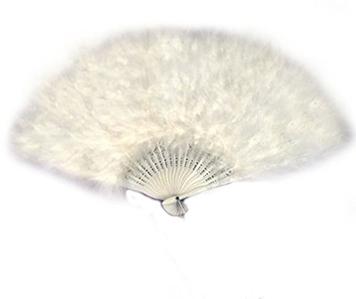 Halloween Dance Party Costumes (SACAS Large White Feather Hand Fan for costume, halloween, party, dance)