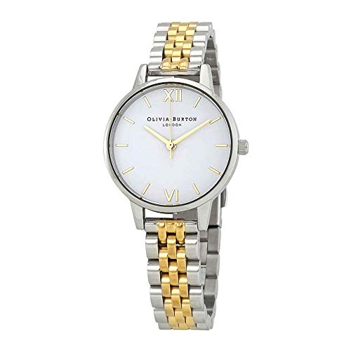 Olivia Burton White Dial Ladies Silver and Gold-Tone Watch OB16MDW34