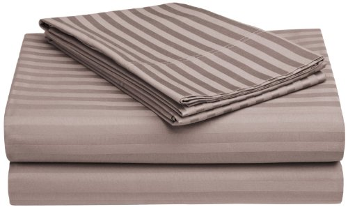 Amazon Lightning Deal 83% claimed: 100% Premium Long-Staple Combed Cotton 650 Thread Count King 4-Piece Sheet Set Deep Pocket Single Ply Stripe Grey