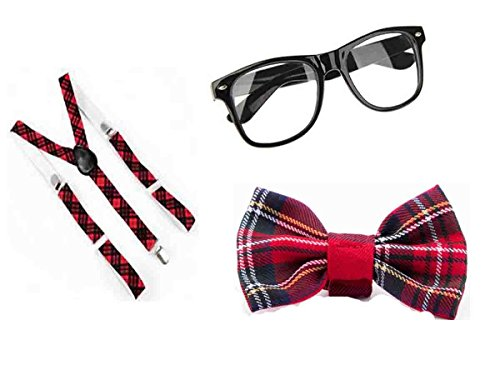 Geek Costumes For Kids Girls (Glossy Look Big Girls' Tartan Nerd Geek Glasses Bow Squad School 3 Pcs Set One Size Red)