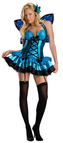 [Secret Wishes  Fantasy Fairy Costume, Blue, Medium] (Sexy Fairy Halloween Costumes)