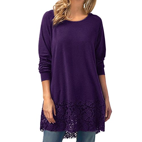 FORUU Valentine's Day Gift 2018 Warehouse Sale Discount Product Hot Sale Women Casual Sheath Silhouette Long Sleeve Lace Trim Hem Hoodie High Low Loose Tunic Tops Blouse (L, - Fashion Discount Warehouse