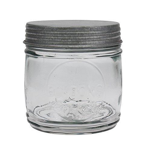 Stonebriar Farmhouse Clear Glass Jar with Antique Galvanized Lid