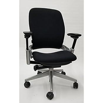 Steelcase Leap Chair V2 In Black Fabric Titanium Base
