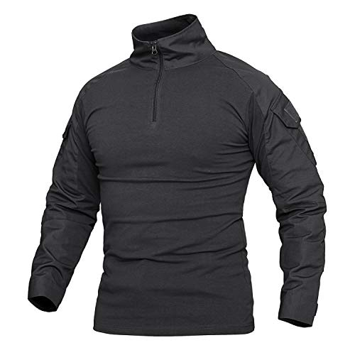 Labeyzon Men's Military Tactical Long Sleeve Combat Shirt with 1/4 Zipper(Black) ()