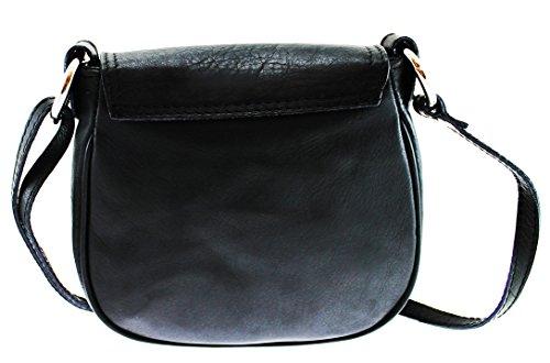 Hombro De La Cuero Embrague 19x17x6cm Mujer Ctm Bolsa Negro Auténtico Correa Con WqUOOF