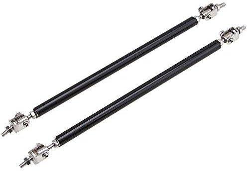 Silver 2pc Adjustable 8-11 Front Bumper Lip Splitter Diffuser Strut Rod Tie Bars Splitter Support Rods Fit Most Vehicles