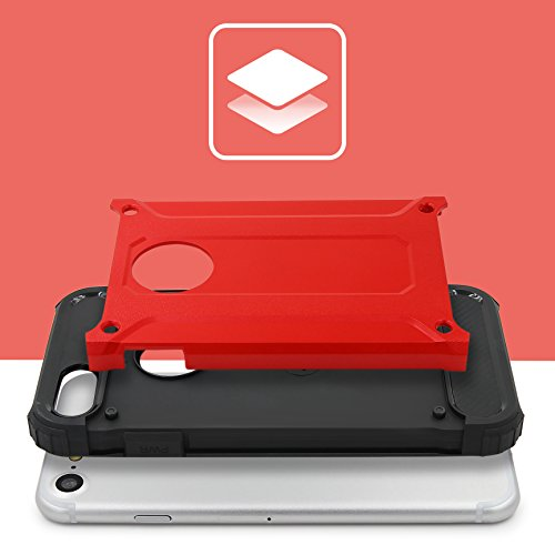 URCOVER® Coque Armor Protection Steel Series Hybrid | Apple iPhone 7 Plus | Rouge | Housse Bumper Double Anti choc Étui Cover Integrale Case Compléte Arrière