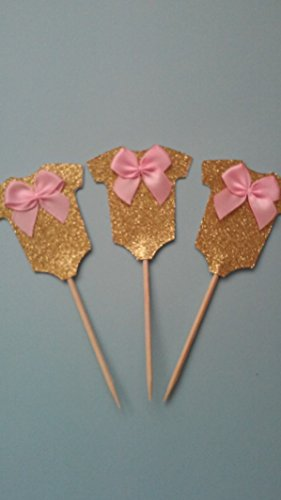 Baby Shower Glitter Cupcake Toppers, Onesies Cupcake Toppers 12 pcs by Little Factory Crafts