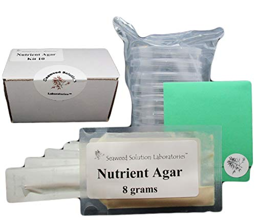(Nutrient Agar Kit, Includes Nutrient Agar Dehydrated, 10 Sterile Petri Dishes with Lids & 10 Sterile Cotton Swabs)