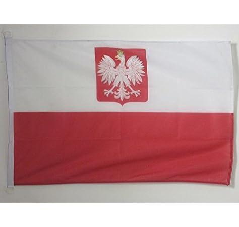 AZ FLAG Bandera Nautica de Polonia con Aguila 45x30cm - Pabellón de conveniencia POLACA con Armas 30 x 45 cm Anillos: Amazon.es: Jardín