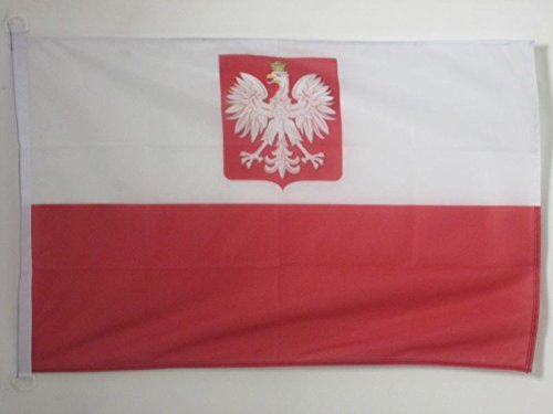 AZ FLAG Poland with Eagle Flag 3' x 5' External Use - Polish Coat of arms Flags 90 x 150 cm - Banner 3x5 ft Knitted Polyester with Rings