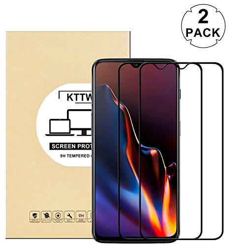 KTTWO OnePlus 6T Screen Protector Glass, (2PACK) Full Screen Coverage Anti-Scratch Bubble-Free Tempered Glass Screen Protector with Full Glue for OnePlus 6T Screen Phone (Black)