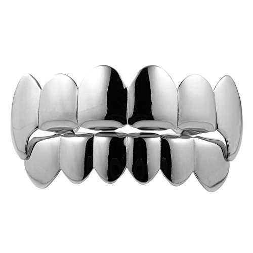 - NIV'S BLING - 18k White Gold-Plated Stainless Steel Vampire Fang Grillz Set