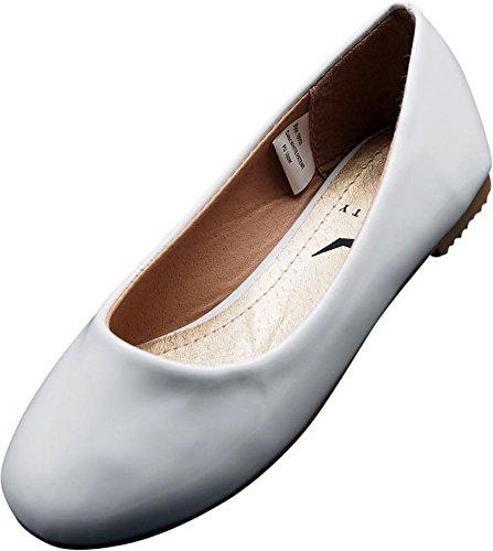 NORTY - Little Girls Patent Ballet Flat, White 40080-13MUSLittleKid - White Leather Ballerina