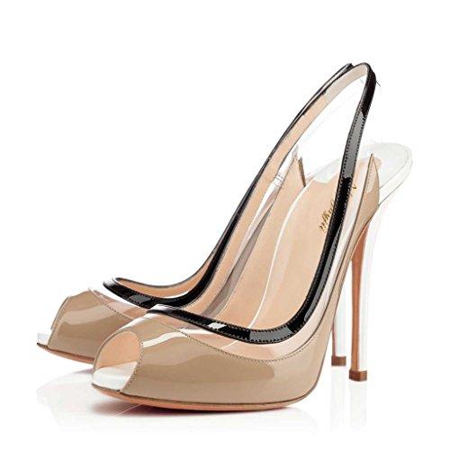 Nancy Jayjii Transparent Pumps for Women Sky High Peep Toe Slingback Genuine Leather Shoes