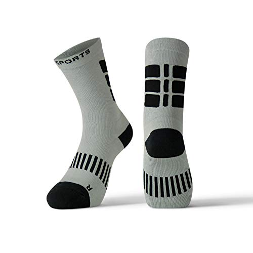 Sock Cuff Mid Trade - X31 Sports Performance Crew Socks | Athletic Hiking Lacrosse Work Boot Socks with Extra Cushion (Grey, Large)